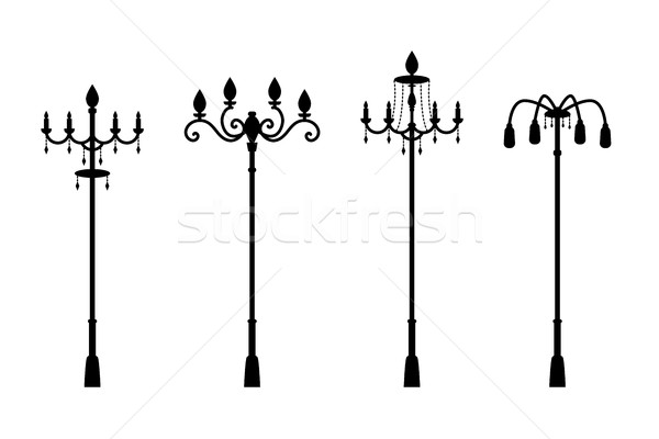 Street lamps in silhouette style, vector Stock photo © jiaking1