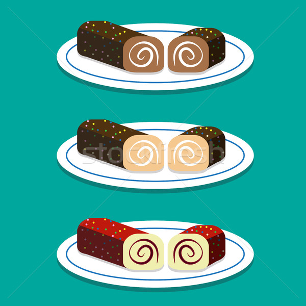 Set of Swiss roll on dish in flat style Stock photo © jiaking1