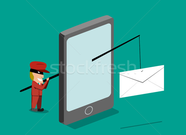 Scammer send phishing mail by mobile phone, vector Stock photo © jiaking1