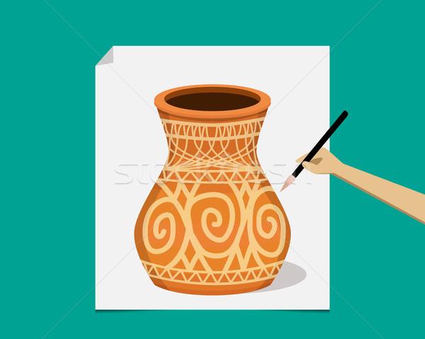 Sanatçı boyama eski çanak çömlek kâğıt vektör Stok fotoğraf © jiaking1
