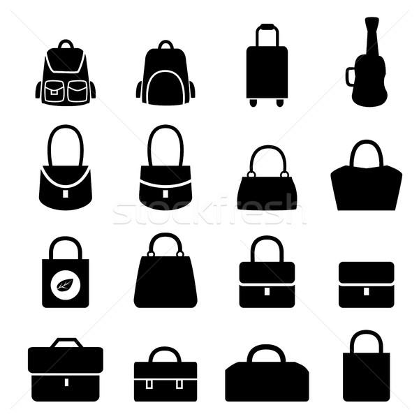 Szett táska ikonok sziluett stílus vektor Stock fotó © jiaking1
