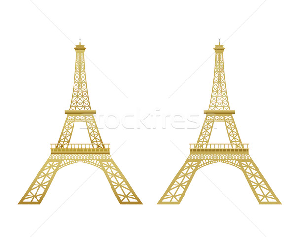 Photo stock: Or · Tour · Eiffel · vecteur · effet · ciel · art