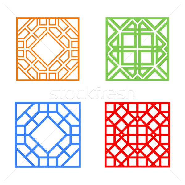 Moderna ventana azulejo cuadrados diseno vector Foto stock © jiaking1
