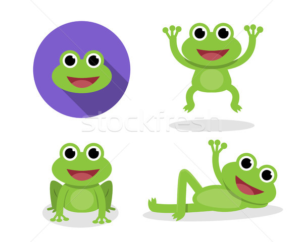 Set of green frog in cartoon style, vector Stock photo © jiaking1