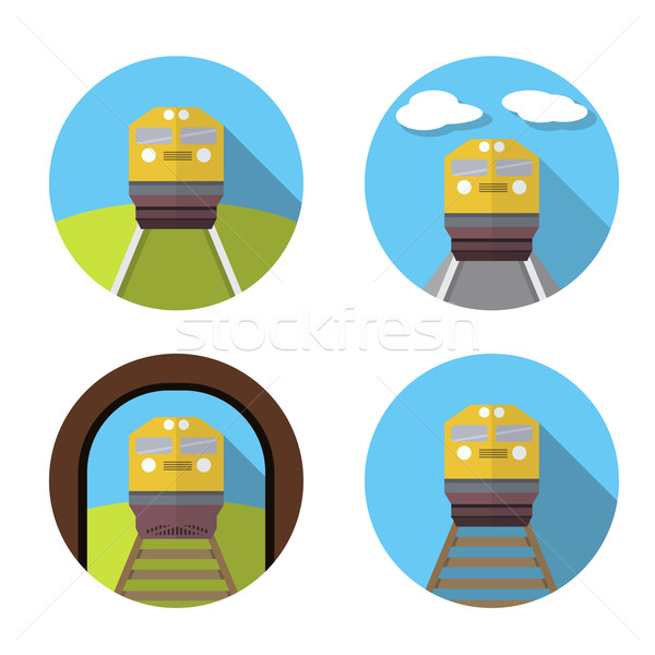 Set of train icon in flat Stock photo © jiaking1