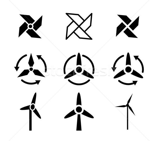 Ayarlamak fan rüzgâr enerji simgeler vektör Stok fotoğraf © jiaking1