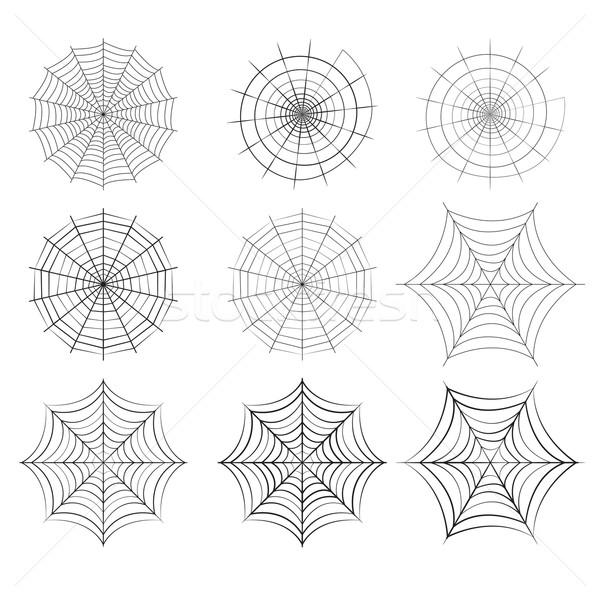 Set Spinnennetz Silhouette Stil isoliert Vektor Stock foto © jiaking1