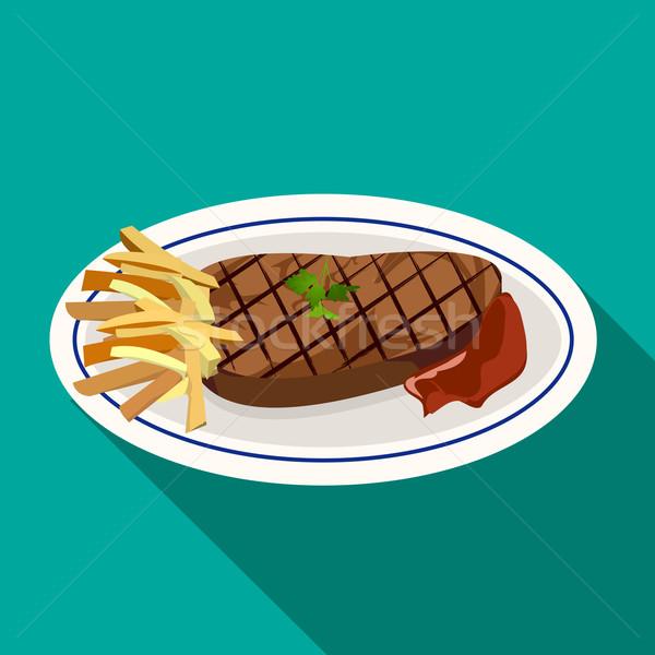 Grillezett hús steak stílus szem étterem rajz Stock fotó © jiaking1