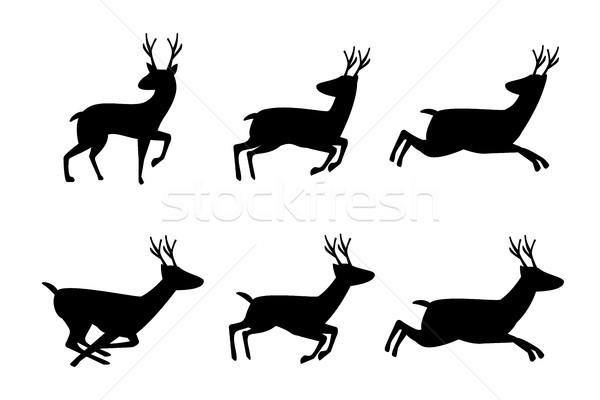 Szett szarvas ikon sziluett stílus vektor Stock fotó © jiaking1