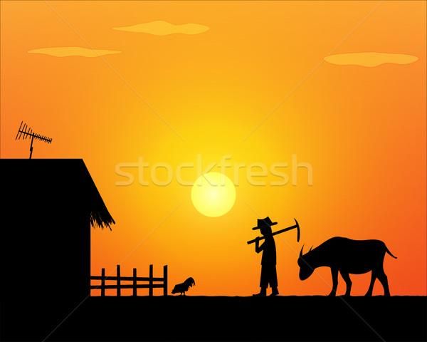 Hát otthon egyedül élet gazda vidék Stock fotó © jiaking1