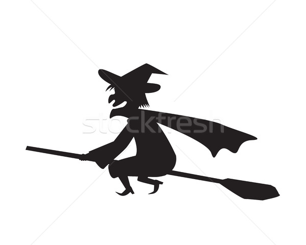 Witch on a broomstick in silhouette Stock photo © jiaking1