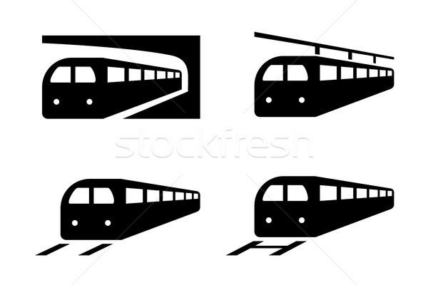 Ayarlamak tren simgeler siluet stil vektör Stok fotoğraf © jiaking1