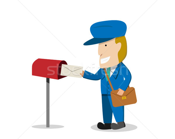 Postman send a letter to mailbox, vector Stock photo © jiaking1