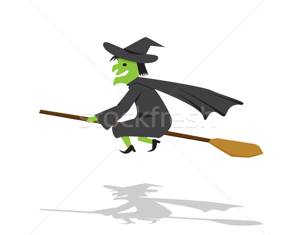 Witch on a broomstick in flat cartoon style Stock photo © jiaking1