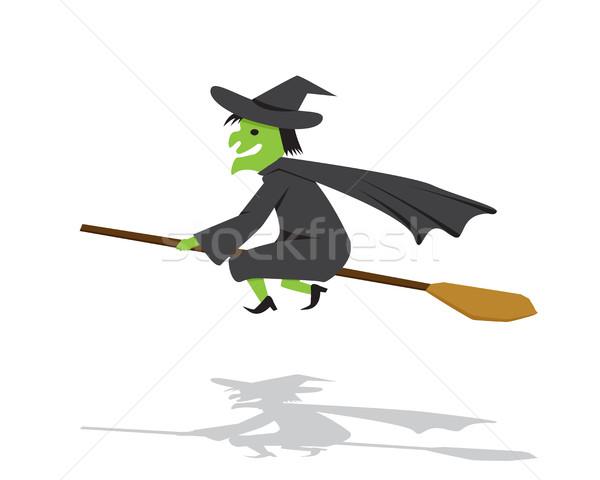 Bruxa cabo de vassoura desenho animado estilo vetor outono Foto stock © jiaking1