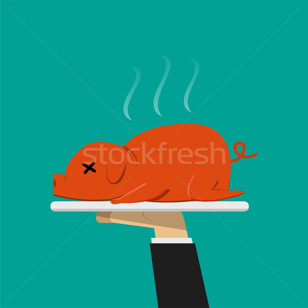 Waiter hand serving grilled suckling pig on plate Stock photo © jiaking1