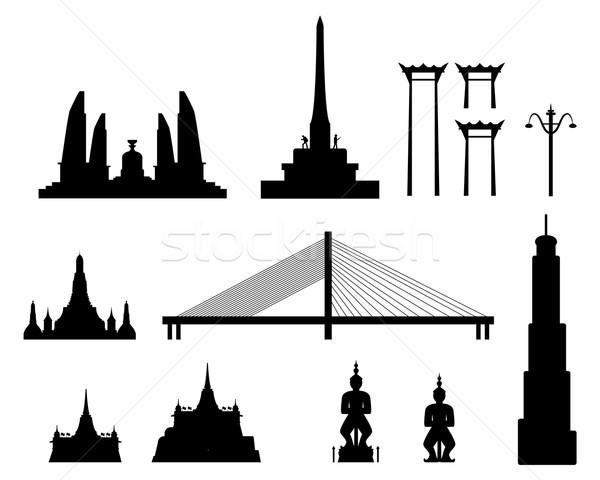 Silhouet mijlpaal gebouwen Bangkok Thailand stad Stockfoto © jiaking1