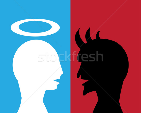 Good man and Evil man are talking about agreement for their busi Stock photo © jiaking1