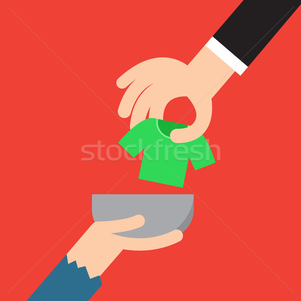 Donation concept. Hand putting cloth to poor man Stock photo © jiaking1