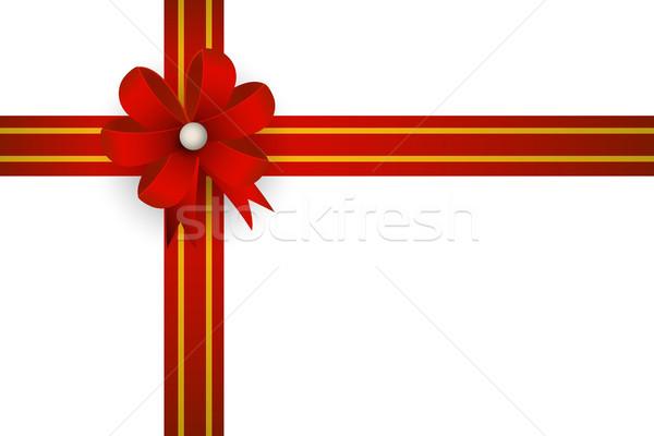 Superior vista caja de regalo rojo arco cinta Foto stock © jiaking1