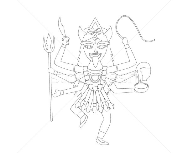 Kali in outline style for coloring, vector Stock photo © jiaking1
