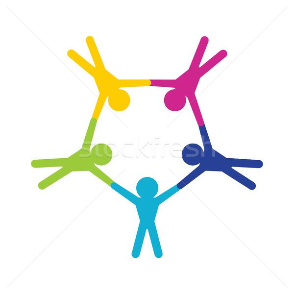 Teamwork and Paratroopers logo Stock photo © jiaking1