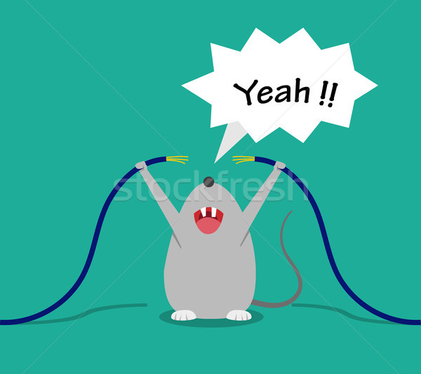 Bad rat happy after bite cable, vector cartoon Stock photo © jiaking1