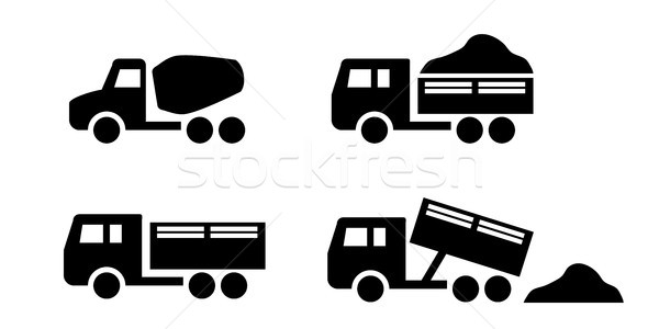 Set of Dumper and concrete mixer truck icons Stock photo © jiaking1