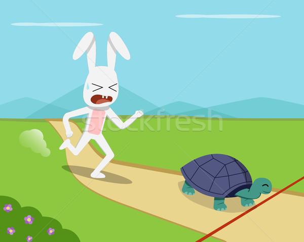 кролик черепаха вектора дизайна детей Сток-фото © jiaking1