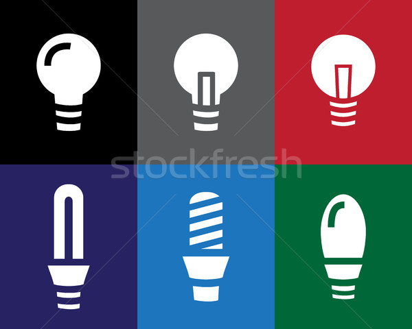 Set of Light bulb icon in stencil style Stock photo © jiaking1
