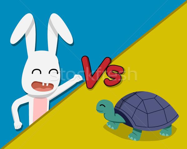 Nyúl teknősbéka vektor rajz terv boldog Stock fotó © jiaking1