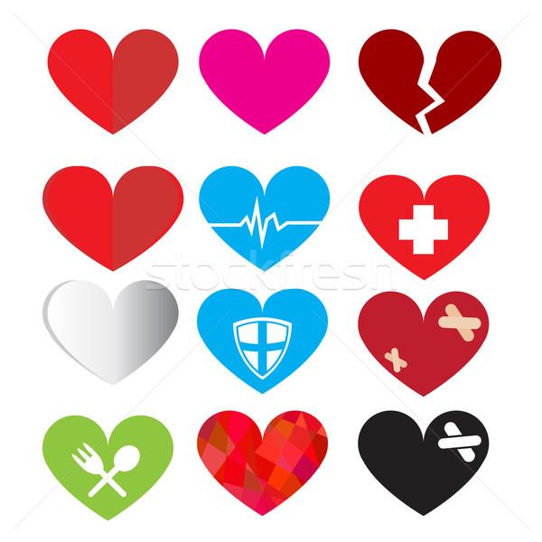Set vettore cuore simbolo alimentare natura Foto d'archivio © jiaking1