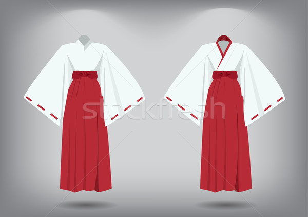 Set of miko suit, traditional japanese costume Stock photo © jiaking1