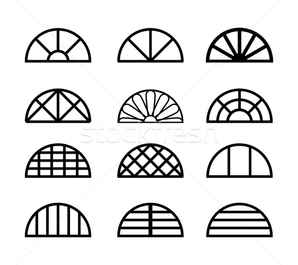 Window frame in semicircle shape, vector Stock photo © jiaking1