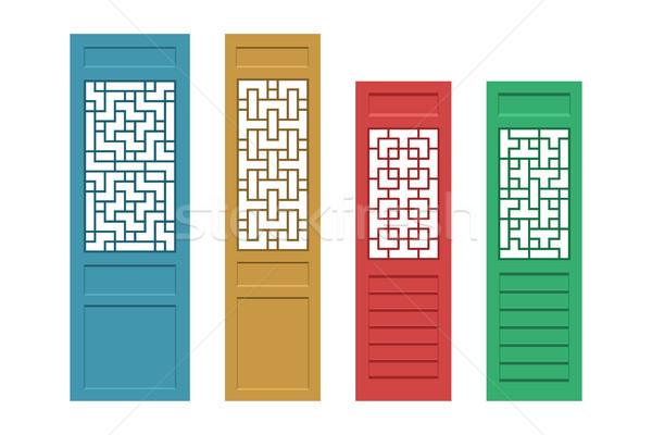 Ayarlamak dikdörtgen Çin kapı model doku Stok fotoğraf © jiaking1