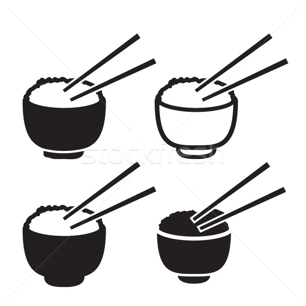 Set of bowl of rice with pair of chopsticks icon Stock photo © jiaking1