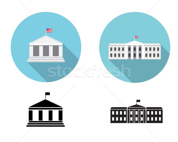 Beyaz ev simgeler siluet stil vektör ev Stok fotoğraf © jiaking1