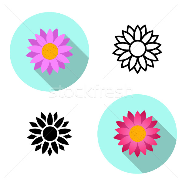 Set of Lotus flower icons in flat style, vector Stock photo © jiaking1