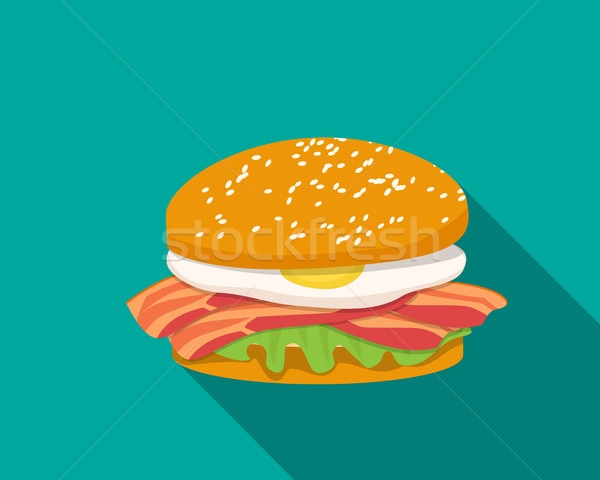 Bacon sandwich with egg in flat style Stock photo © jiaking1