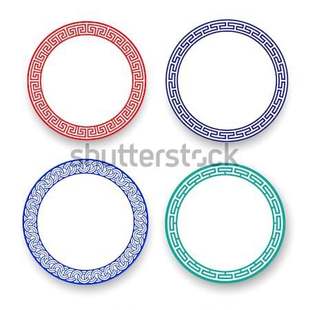 Fehér tányér kínai minta izolált vektor Stock fotó © jiaking1