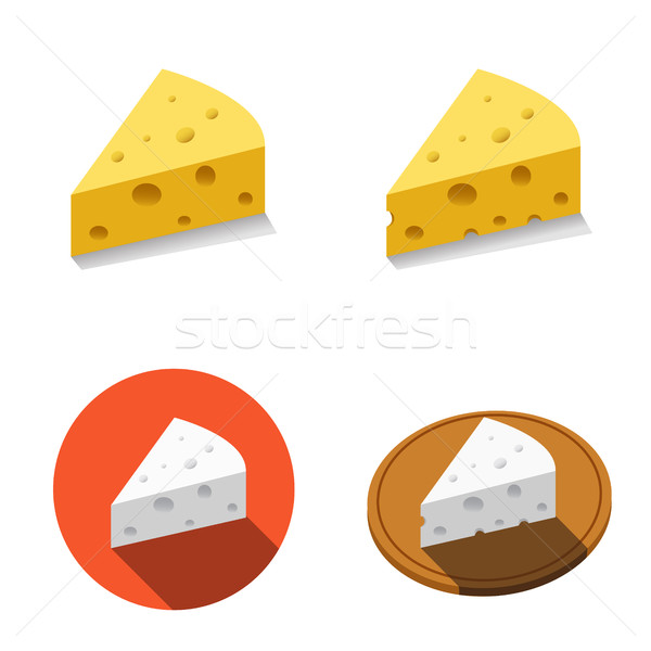 White and Yellow cheese in flat style Stock photo © jiaking1