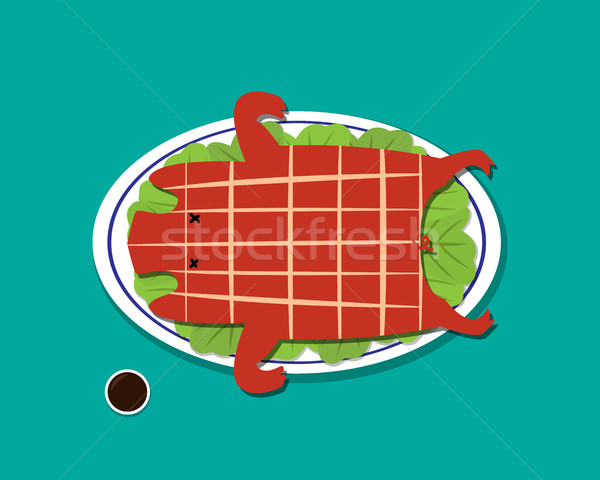 Barbecued suckling pig in flat style, vector Stock photo © jiaking1