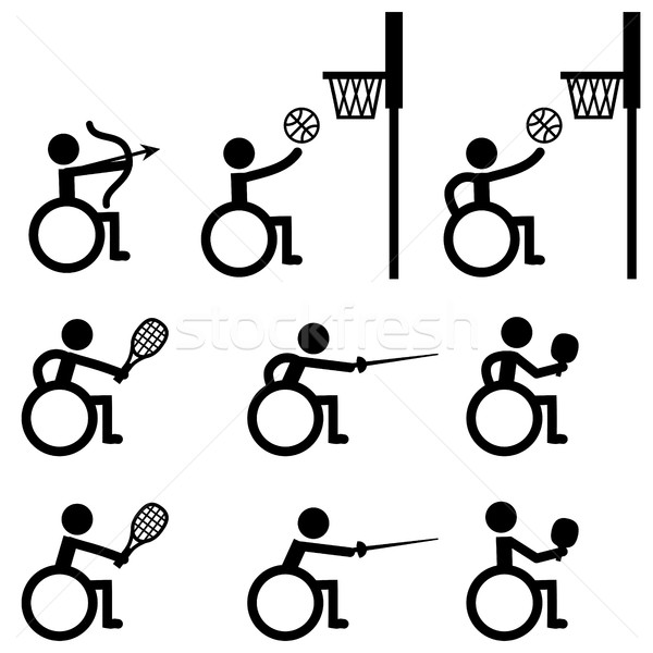 Handicap sport icônes tir à l'arc basket tennis Photo stock © jiaking1