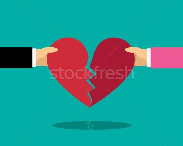 Corazón romper masculina femenino mano vector Foto stock © jiaking1