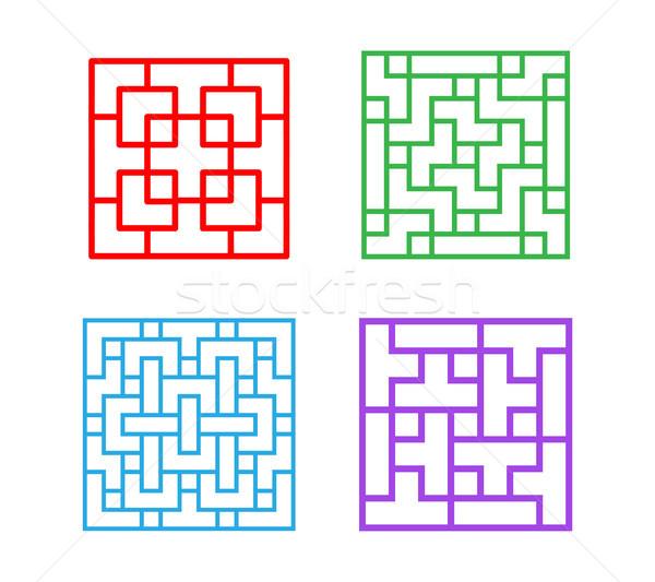 Szett tér kínai minta ablakkeret vektor Stock fotó © jiaking1