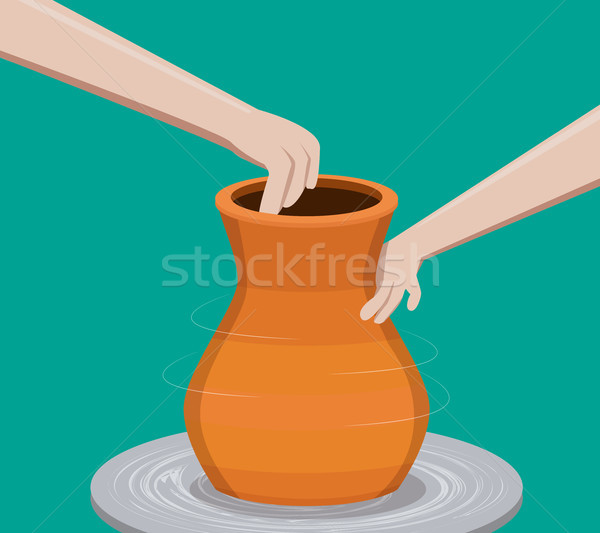 Potter making a pottery, vector  Stock photo © jiaking1