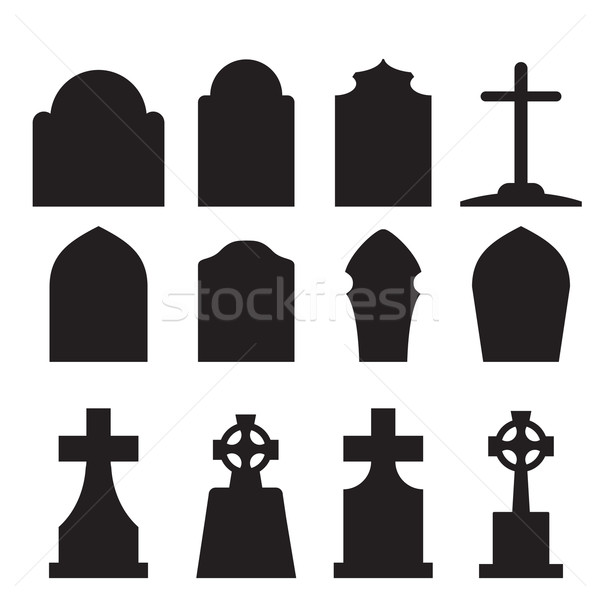 Set of headstone and tombstone silhouette Stock photo © jiaking1