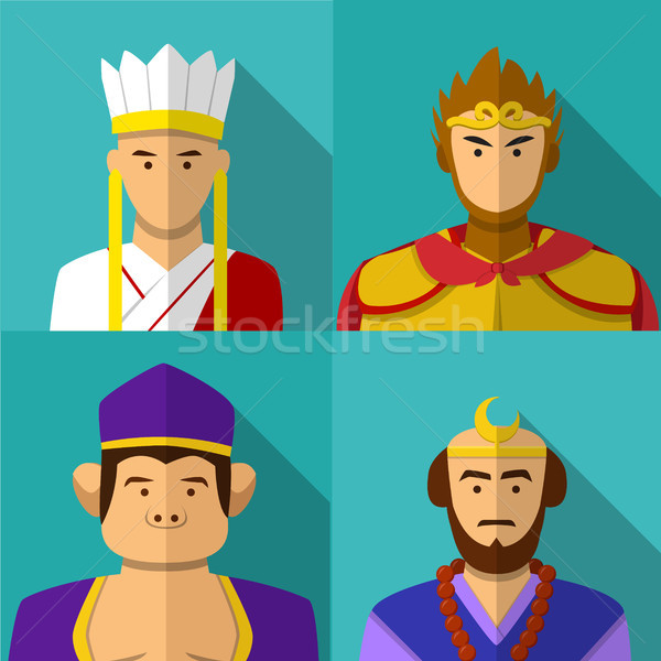 Journey to the West character portrait in flat Stock photo © jiaking1