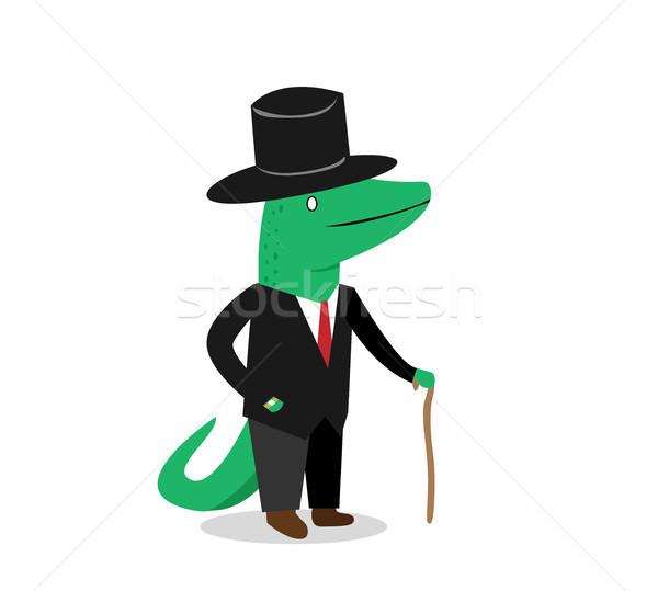 üzlet krokodil öltöny vektor rajz rajzfilmfigura Stock fotó © jiaking1