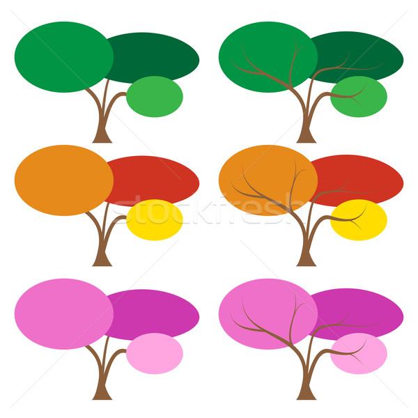 Establecer color árbol muchos temporada vector Foto stock © jiaking1